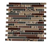 Bellavita Glass Tile - Bellavita Sierra Vista - SVBBG Baltic Brown Blend - Mixed Size Glass and Polished Granite Mosaic - Glossy * SAMPLE *