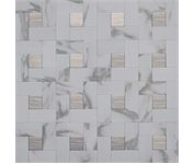 Instant M Metal Tile: 12 in. x 12 in. Peel and Stick Faux White Marble and Brushed Stainless Metal Wall Tile EKB-03-108